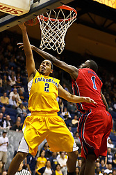 March 16, 2011; Berkeley, CA, USA;  Mississippi Rebels forward Terrance Henry (1) defends a shot from California Golden Bears guard Jorge Gutierrez (2) during the second half of the first round of the National Invitation Tournament at Haas Pavilion.  California defeated Mississippi 77-74.