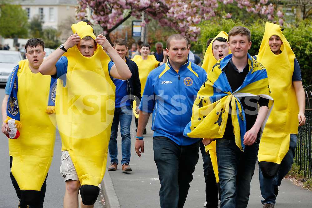 Shrewsbury Town supporters arrive in fancy dress ahead of the Sky Bet League 2 match between Cheltenham Town and Shrewsbury Town at the Abbey Business Stadium, Cheltenham, England on 25 April 2015. Photo by Mark Hawkins.