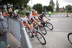 Lizzie Armitstead (GBR) of Boels-Dolmans Cycling Team leans into the final corner of the penultimate lap around Vårgårda during the 141 km road race of the UCI Women's World Tour's 2016 Crescent Vårgårda women's road cycling race on August 21, 2016 in Vårgårda, Sweden. (Photo by Balint Hamvas/Velofocus)
