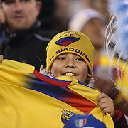 A young Ecuador fan during the Argentina Vs Ecuador International friendly football match at MetLife Stadium, New Jersey. USA. 15th November 2013. Photo Tim Clayton