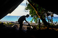 Camping on beach, Sandakan district, Sabah, Borneo, Malaysia, Southeast Asia