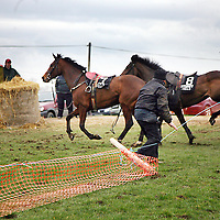This spectator had a narrown escape as two loose horses break through the fences at the Killaloe Point to Point on Sunday.<br />
