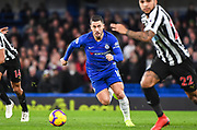 Chelsea Midfielder Eden Hazard in action during the Premier League match between Chelsea and Newcastle United at Stamford Bridge, London, England on 12 January 2019.