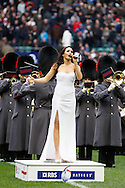 Picture by Andrew Tobin/Focus Images Ltd +44 7710 761829.10/03/2013.  Laura Wright sings the national anthem during the RBS 6 Nations match at Twickenham Stadium, Twickenham.