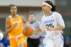 Kentucky guard Makayla Epps brings the ball up the court in the first half.<br /> <br /> The University of Kentucky hosted the University of Tennessee, Monday, Jan. 25, 2016 at Memorial Coliseum in Lexington .