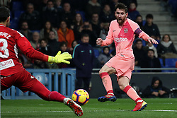 December 8, 2018 - Barcelona, Catalonia, Spain - Leo Messi during the match between RCD Espanyol and FC Barcelona, corresponding to the week 15 of the spanish league, played at the RCD Espanyol Stadium on 08th December 2018 in Barcelona, Spain. Photo: Joan Valls/Urbanandsport /NurPhoto. (Credit Image: © Joan Valls/NurPhoto via ZUMA Press)