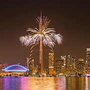 Fireworks explode off of the CN Tower over downtown Toronto during closing ceremonies to mark the end of  the 2015 PanAm Games.