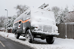 © Licensed to London News Pictures. 05/02/2012. Sanderstead, Surrey. A Green Goddess Fire Engine in the snow. Ian Schofield/LNP