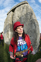 "© Licensed to London News Pictures.21/06/2016. Stonehenge, Amesbury, Wiltshire, UK. ""Lucky"" from the band Red Henge at the Summer Solstice celebrations at Stonehenge, just before the EU referendum. This year is a leap year and so the actual Solstice fell on 20 June. There was also a 'Strawberry' full moon to coincide with the Solstice, the first time for decades. Photo credit : Simon Chapman/LNP"