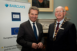 European Commissioner for the EU Budget &amp; Human Resources, Guenther Oettinger, speaking about Brexit at tonight&rsquo;s European Chamber of Ireland event in Dublin.<br />  <br /> Picture at the event were EU-Commissioner Guenther Oettinger + Jack Golden (President of the European Chamber of Ireland)<br />  <br /> Please contact for more information<br />  <br /> Nicole Jung<br /> Public Relations and Public Affairs<br />  <br /> German-Irish Chamber of Industry and Commerce - AHK Ireland<br /> 5 Fitzwilliam Street Upper <br /> Dublin 2, D02YH95  <br /> Tel:  00353 (0)87 2024951<br /> Fax: 00353-1 6424 399<br /> E-Mail:  nicole.jung@german-irish.ie<br /> Web: www.german-irish.ie