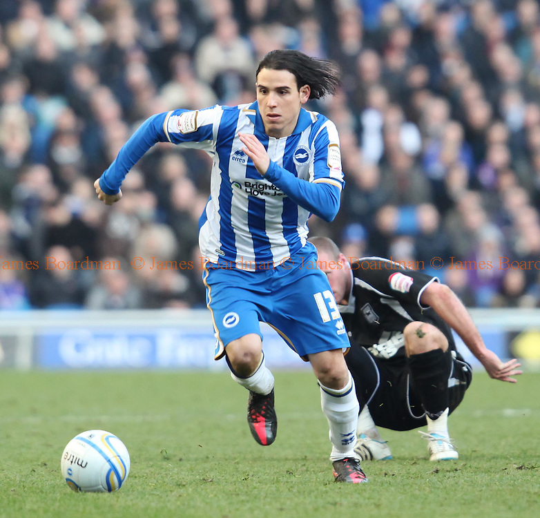 JAMES BOARDMAN / 07967642437.Brighton's new signing Gai Assulin on the ball during the NPower Championship match between Brighton and Hove Albion and Ipswitch Town at the AMEX Stadium in Brighton. Febuary 25, 2012.