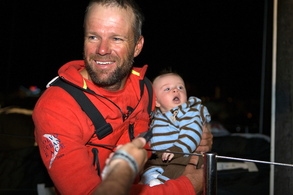 02NOV08. PUMA Ocean Racing, skippered by Ken Read, finish Leg 1 of the Volvo Ocean Race 2008-09 in second place, crossing the line in Cape Town at 17:44GMT (19:44 local)
