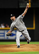 Jun. 18 2011; Phoenix, AZ, USA; Chicago White Sox pitcher John Danks (50) delivers a pitch during the first inning against the Arizona Diamondbacks at Chase Field. Mandatory Credit: Jennifer Stewart-US PRESSWIRE..