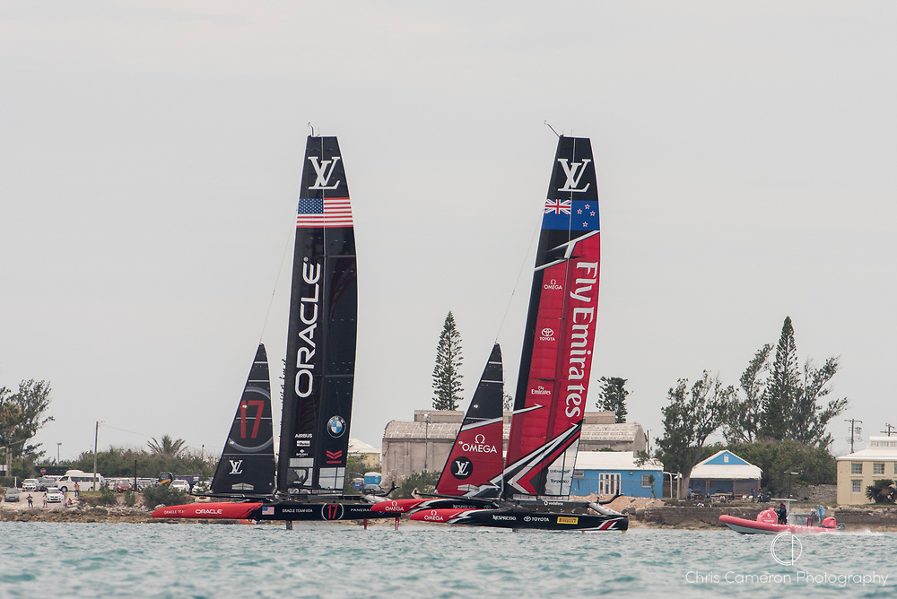 The Great Sound, Bermuda, 24th June 2017, Oracle Team USA and Emirates Team New Zealand in pre race manouvers for race six. Day three of racing in the America's Cup presented by louis Vuitton.