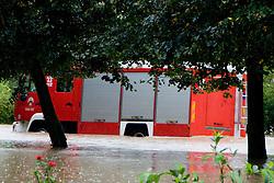 Fireman truck stuck in the water after heavy rain on September 18, 2010, in Ljubljana, Slovenia. (Photo by Matic Klansek Velej / Sportida)