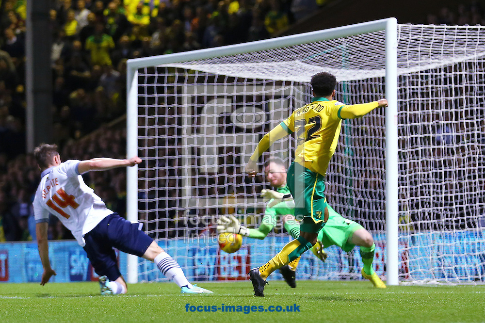 Nathan Redmond of Norwich City beats Andy Lonergan of Bolton Wanderers with this shot but it rebounds off the post during the Sky Bet Championship match at Carrow Road, Norwich<br /> Picture by Richard Calver/Focus Images Ltd +447792 981244<br /> 31/10/2014