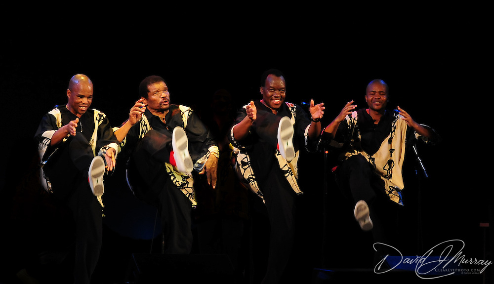 Ladysmith Black Mambazo members Msizi Shabalala (L), Russel Methembu, Abednego Mazibuko, and Sibongiseni Shabalala performing at The Music Hall, Portsmouth, NH