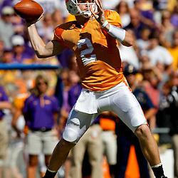 Oct 2, 2010; Baton Rouge, LA, USA; Tennessee Volunteers quarterback Matt Simms (2) passes against the LSU Tigers during the first half at Tiger Stadium.  Mandatory Credit: Derick E. Hingle