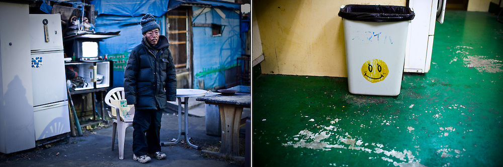 LEFT: Kazuki, 65, stands in front of his shack  built in a park in Osaka, Japan. <br />