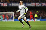 Bayern Munich goalkeeper Manuel Neuer runs to the sideline after Bayern Munich score a goal during the Champions League match between Chelsea and Bayern Munich at Stamford Bridge, London, England on 25 February 2020.