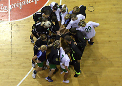 Players of Olimpija with their coach Robert Begus after  handball game between women team RK Olimpija vs ZRK Brezice at 1st round of National Championship, on September 13, 2008, in Arena Tivoli, Ljubljana, Slovenija. Olimpija won 41:17. (Photo by Vid Ponikvar / Sportal Images)