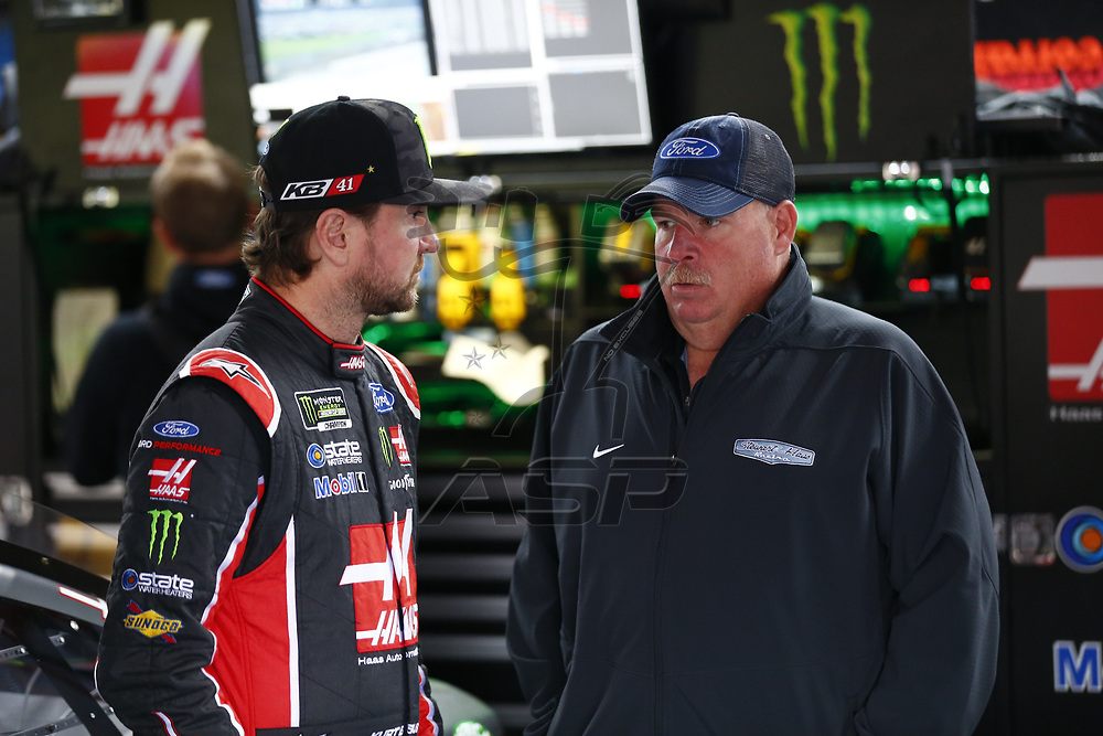May 05, 2017 - Talladega, Alabama, USA: Kurt Busch (41) hangs out in the garage during practice for the GEICO 500 at Talladega Superspeedway in Talladega, Alabama.