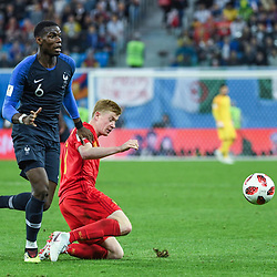 Kevin De Bruyne of Belgium and Paul Pogba of France during the Semi Final FIFA World Cup match between France and Belgium at Krestovsky Stadium on July 10, 2018 in Saint Petersburg, Russia. (Photo by Anthony Dibon/Icon Sport)