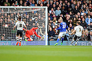Cardiff City striker, Lex Immers (27) scoring first goal of game 0-1 during the Sky Bet Championship match between Fulham and Cardiff City at Craven Cottage, London, England on 9 April 2016. Photo by Matthew Redman.