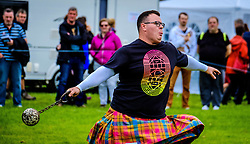 Peebles, Scotland UK  3rd September 2016. Peebles Highland Games, the biggest 'highland' games in the Scottish  Borders took place in Peebles on September 3rd 2016 featuring pipe band contests, highland dancing competitions, haggis hurling, hammer throwing, stone throwing and other traditional events.<br />   <br /> Pictured:  a competitor throwing the ball and chain<br /> <br /> (c) Andrew Wilson | Edinburgh Elite media