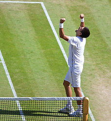 LONDON, ENGLAND - Friday, July 4, 2014: Novak Djokovic (SRB) celebrates after winning the Gentlemen's Singles Semi-Final match 6-3, 3-6, 7-6 (2), 7-6 (7) on day eleven of the Wimbledon Lawn Tennis Championships at the All England Lawn Tennis and Croquet Club. (Pic by David Rawcliffe/Propaganda)