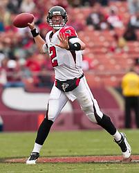 October 11, 2009; San Francisco, CA, USA;  Atlanta Falcons quarterback Matt Ryan (2) throws a pass in the second quarter against the San Francisco 49ers at Candlestick Park. Atlanta won 45-10.