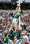 Twickenham. Great Britain, Ireland's, Simon EASTERBY, pluck's the line out ball, out of the air, during the the Six Nations Rugby, England vs Ireland,  match played at the RFU Stadium, 15.03.2008. [Mandatory Credit. Peter Spurrier/Intersport Images]