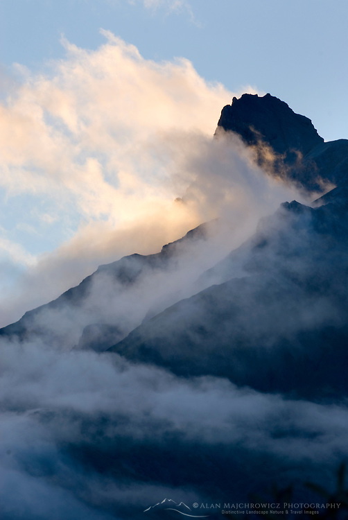 Evening clouds swirling around Donoho Peak, Wrangell-St. Elias National Park Alaska