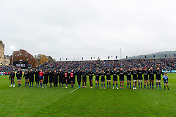 Bath Rugby players line up for Remembrance weekend prior to the match - Mandatory byline: Patrick Khachfe/JMP - 07966 386802 - 09/11/2019 - RUGBY UNION - The Recreation Ground - Bath, England - Bath Rugby v Northampton Saints - Gallagher Premiership