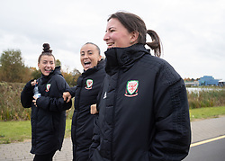 MINSK, BELARUS - Tuesday, October 8, 2019: Wales' L-R Angharad James, Natasha Harding and Helen Ward during a pre-match team walk before the UEFA Women's Euro 2021 Qualifying Group C match between Belarus and Wales. (Pic by Kunjan Malde/Propaganda)