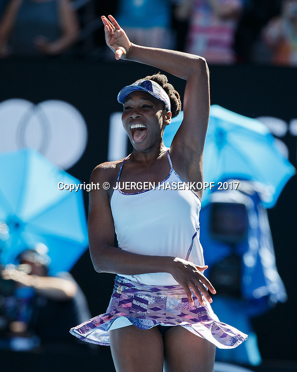 VENUS WILLIAMS (USA)  jubelt nach ihrem Sieg,Jubel,Freude,Emotion,<br /> <br /> Australian Open 2017 -  Melbourne  Park - Melbourne - Victoria - Australia  - 26/01/2017.
