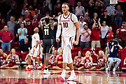 FAYETTEVILLE, AR - FEBRUARY 5:  Daniel Gafford #10 of the Arkansas Razorbacks reacts after a big play near the end of a game against the Vanderbilt Commodores at Bud Walton Arena on February 5, 2019 in Fayetteville, Arkansas. The Razorbacks defeated the Commodores 69-66.  (Photo by Wesley Hitt/Getty Images) *** Local Caption *** Daniel Gafford