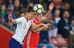 SOUTHAMPTON, ENGLAND - Friday, April 6, 2018: Wales' Rachel Rowe and England's Demi Stokes during the FIFA Women's World Cup 2019 Qualifying Round Group 1 match between England and Wales at St. Mary's Stadium. (Pic by David Rawcliffe/Propaganda)
