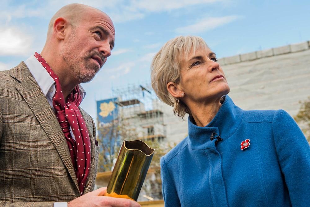 Artist Mark Humphrey talks to Judy Murray - The Every Man Remembered sculpture in Trafalgar Square unveiled by Royal British Legion beneficiary Serena Alexander - Serena lost her son, Sam Alexander MC, in Afghanistan and received help through the Legion's Independent Inquest Advice Service. Her links to the First World War are extensive and she is helping to promote the Every Man Remembered website. Her own Great Uncle, Norman Birtwistle MC was awarded the Military Cross before being killed in action during one of the last cavalry charges in 1918. The sculpture is a collaborative piece with the artist Mark Humphrey - being 7.5-metre high it will sit in Trafalgar Square until 16 November. Made of brass, it is loosely based on the Unknown Solider and stands on a plinth of limestone sourced from the Somme. It is encased in a Perspex obelisk, surrounded by poppies which float up around the figure every five minutes.  The sculpture will carry out a four-year tour of Great Britain, visiting a number of different locations across the country where members of the public will be invited to remember all those who fell during the First World War.