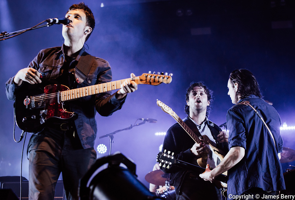 The Maccabees perform live at Alexandra Palace, London, on 29 June 2017, the first of three nights at the venue. These shows are the band's final performances before they split up. Picture shows Orlando Weeks, Felix White and Hugo White.