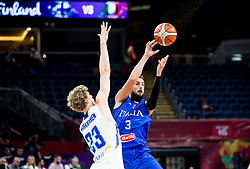 Lauri Markkanen of Finland vs Marco Belinelli of Italy during basketball match between National Teams of Finland and Italy at Day 10 in Round of 16 of the FIBA EuroBasket 2017 at Sinan Erdem Dome in Istanbul, Turkey on September 9, 2017. Photo by Vid Ponikvar / Sportida