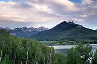 Sunset at Silver Jack Reservoir in Colorado with views of Sheep Mountain and Turret Ridge
