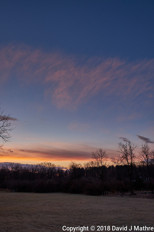 Winter Backyard Dawn Sky in New Jersey. Image 4 of 8 taken with a Fuji X-T1 camera and 16 mm f/1.4 lens (ISO 200, 16 mm, f/8, 1/60 sec). Raw images processed with Capture One Pro and the composite generated using AutoPano Giga Pro.