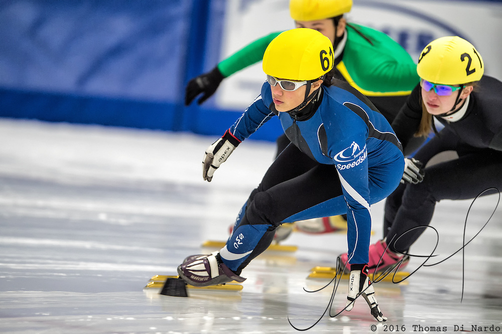March 18, 2016 - Verona, WI - Stephanie Velez, skater number 61 competes in US Speedskating Short Track Age Group Nationals and AmCup Final held at the Verona Ice Arena.