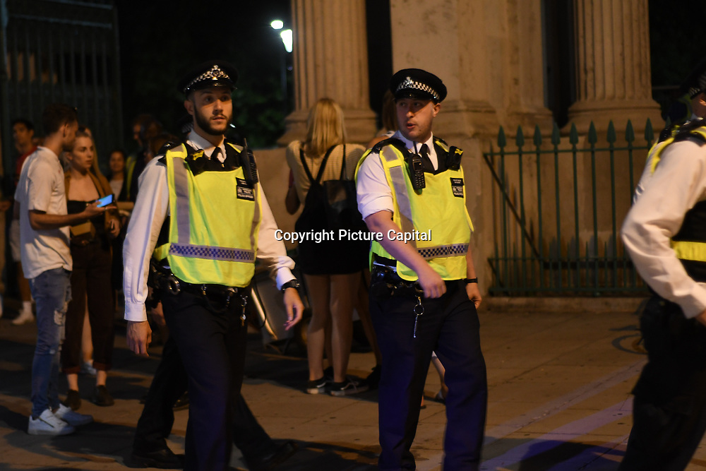 Heavy police present after England loss to Croatia the 2018 FIFA World Cup semi-finals in Moscow outside Hype park on 11 July 2018.