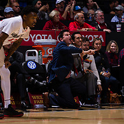 05 December 2018: San Diego State Aztecs assistant coach David Velasquez yells in a play during the second half. The Aztecs lost to the Toreros 73-61 at Viejas Arena.