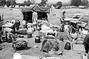 Family camp set up, at Glastonbury, 1989.