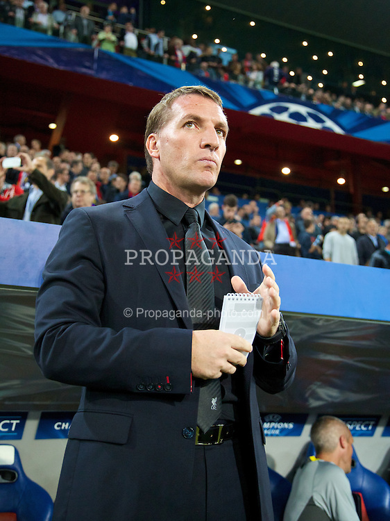 BASEL, SWITZERLAND - Wednesday, October 1, 2014: Liverpool's manager Brendan Rodgers with his notepad before the UEFA Champions League Group B match against FC Basel at the St. Jakob-Park Stadium. (Pic by David Rawcliffe/Propaganda)