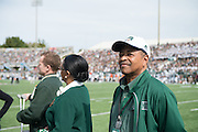 Ohio Univeristy President, Roderick McDavis, is honored as the Ohio University Alumnus of the Year after the first period of play during the Bobcat's homecoming matchup against Bowling Green at Peden Stadium in Athens, Ohio on Saturday, October 8, 2016.