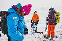 Day three of Intro to Backcountry Skiing with Chicks, LLC. Guide Karen Bockel Caroline Schweyer and Margaret Gorman, out for a tour in the Red Mountain Pass area of the San Juan Mountains, Colorado.